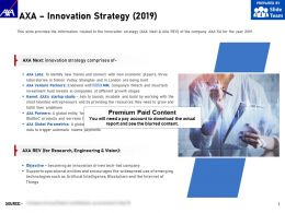 AXA Innovation Strategy 2019