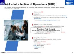 AXA Introduction Of Operations 2019