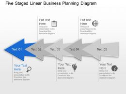 Ay Five Staged Linear Business Planning Diagram Powerpoint Template Slide