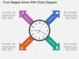 ay Four Staged Arrow With Clock Diagram Flat Powerpoint Design