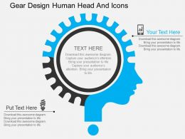 ay Gear Design Human Head And Icons Flat Powerpoint Design
