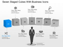 Ay Seven Staged Cubes With Business Icons Powerpoint Template
