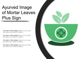 Ayurved Image Of Mortar Leaves Plus Sign