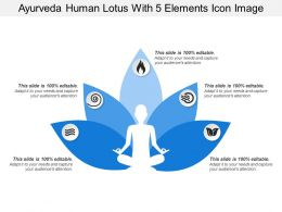 Ayurveda Human Lotus With 5 Elements Icon Image