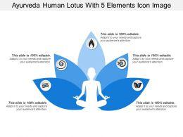 Ayurveda Human Lotus With 5 Elements Icon Image