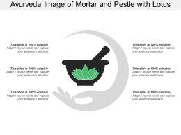 Ayurveda Image Of Mortar And Pestle With Lotus