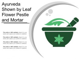 Ayurveda Shown By Leaf Flower Pestle And Mortar