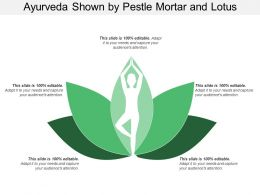 Ayurveda Shown By Pestle Mortar And Lotus