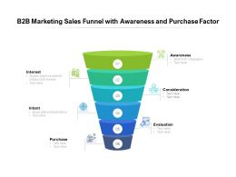 B2B Marketing Sales Funnel With Awareness And Purchase Factor