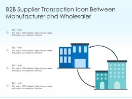 B2B Supplier Transaction Icon Between Manufacturer And Wholesaler