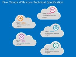 ba Five Clouds With Icons Technical Specification Flat Powerpoint Design
