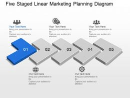 Ba Five Staged Linear Marketing Planning Diagram Powerpoint Template Slide