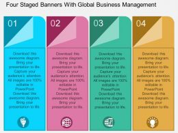 ba Four Staged Banners With Global Business Management Flat Powerpoint Design