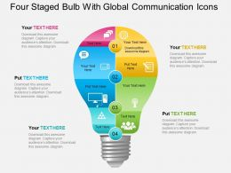 Ba Four Staged Bulb With Global Communication Icons Powerpoint Template