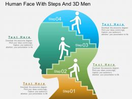 Ba Human Face With Steps And 3d Men Powerpoint Template