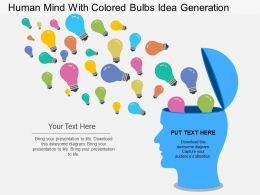 ba Human Mind With Colored Bulbs Idea Generation Flat Powerpoint Design