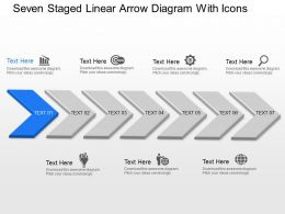Ba Seven Staged Linear Arrow Diagram With Icons Powerpoint Template