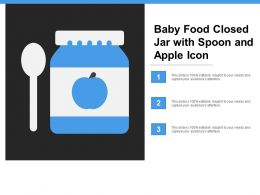 Baby Food Closed Jar With Spoon And Apple Icon