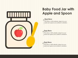 Baby Food Jar With Apple And Spoon