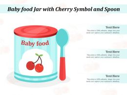 Baby Food Jar With Cherry Symbol And Spoon
