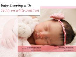 Baby Sleeping With Teddy On White Bedsheet