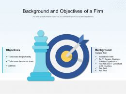 Background And Objectives Of A Firm