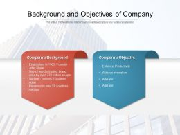 Background And Objectives Of Company