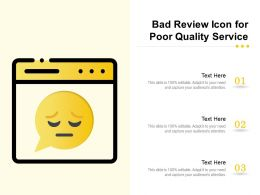 Bad Review Icon For Poor Quality Service
