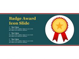 Badge Award Icon Slide Ppt Example