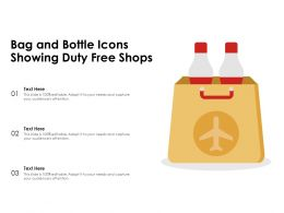 Bag And Bottle Icons Showing Duty Free Shops