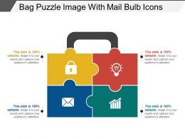 Bag Puzzle Image With Mail Bulb Icons