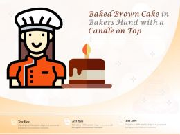 Baked Brown Cake In Bakers Hand With A Candle On Top