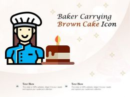 Baker Carrying Brown Cake Icon