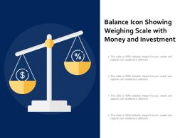 Balance Icon Showing Weighing Scale With Money And Investment