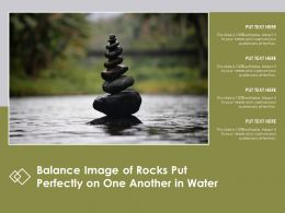 Balance Image Of Rocks Put Perfectly On One Another In Water