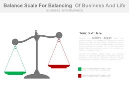 Balance Scale For Balancing Of Business And Life Powerpoint Slides