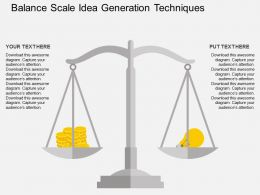 Balance Scale Idea Generation Techniques Flat Powerpoint Design