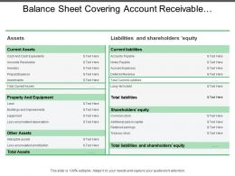 Balance Sheet Covering Account Receivable Property And Equipment
