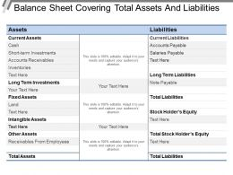 Balance Sheet Covering Total Assets And Liabilities