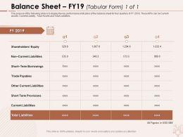 Balance Sheet FY19 Tabular Form Borrowings Ppt Powerpoint Presentation Show Background Designs