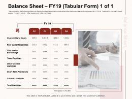 Balance Sheet FY19 Tabular Form Key Quarters Ppt Powerpoint Presentation File Template