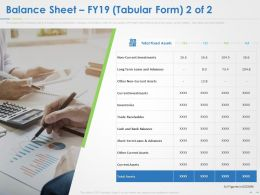 Balance Sheet FY19 Tabular Form Ppt Powerpoint Presentation Summary Icons