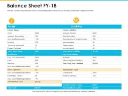 Balance Sheet Fy 18 Assets Ppt Powerpoint Presentation Icon Background Designs