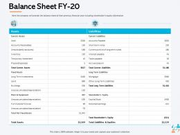 Balance Sheet FY 20 Current Portion Ppt Powerpoint Presentation Pictures Background Images