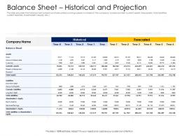 Balance Sheet Historical And Projection Alternative Financing Pitch Deck Ppt Images