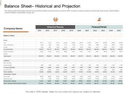 Balance Sheet Historical And Projection Equity Crowd Investing Ppt Mockup