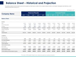 Balance Sheet Historical And Projection Ppt Powerpoint Presentation Model Inspiration
