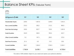 Balance Sheet Kpis Ppt Layouts Inspiration
