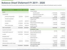 Balance Sheet Statement FY 2019 To 2020 Ppt Powerpoint Presentation Model Graphics