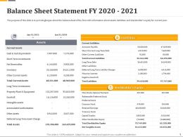 Balance Sheet Statement Fy 2020 2021 Ppt Powerpoint Gallery Outline